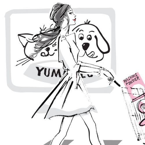 Black and white illustration of fashion model