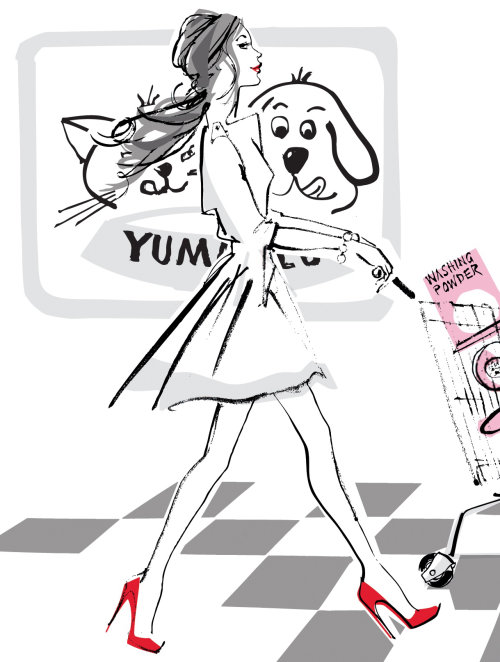 Illustration en noir et blanc du mannequin