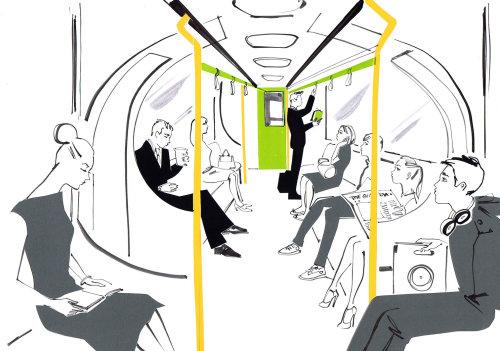 Les personnes voyageant dans l'illustration du train local par Jacqueline Bissett