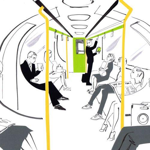people in train mixed medium art