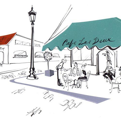 Street scene line drawing
