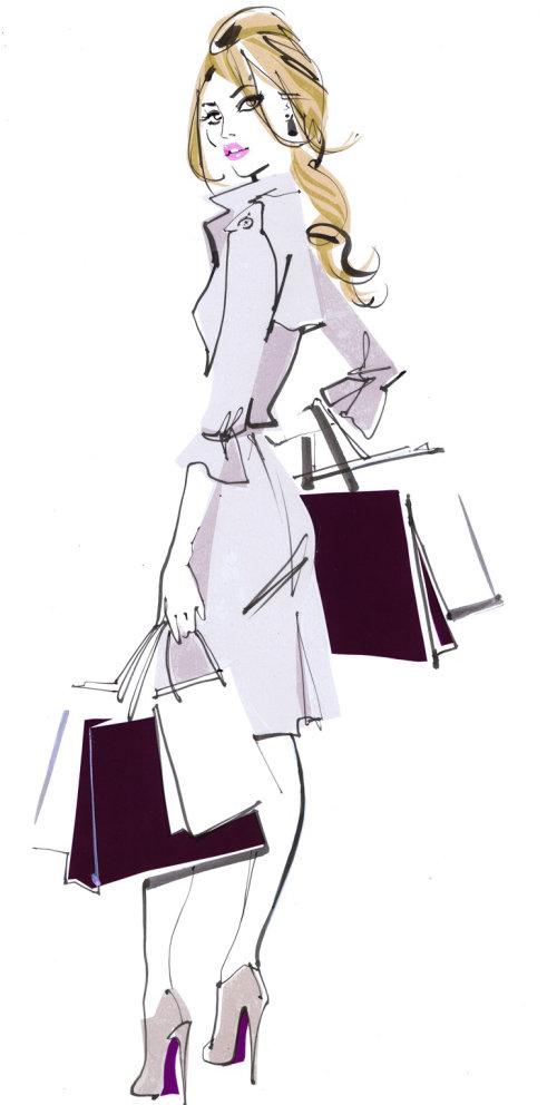 Fille va faire du shopping