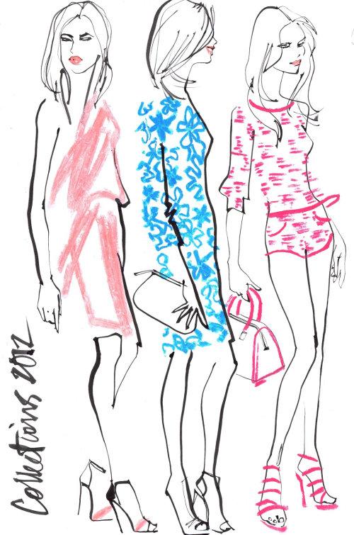 girls catwalk sketch