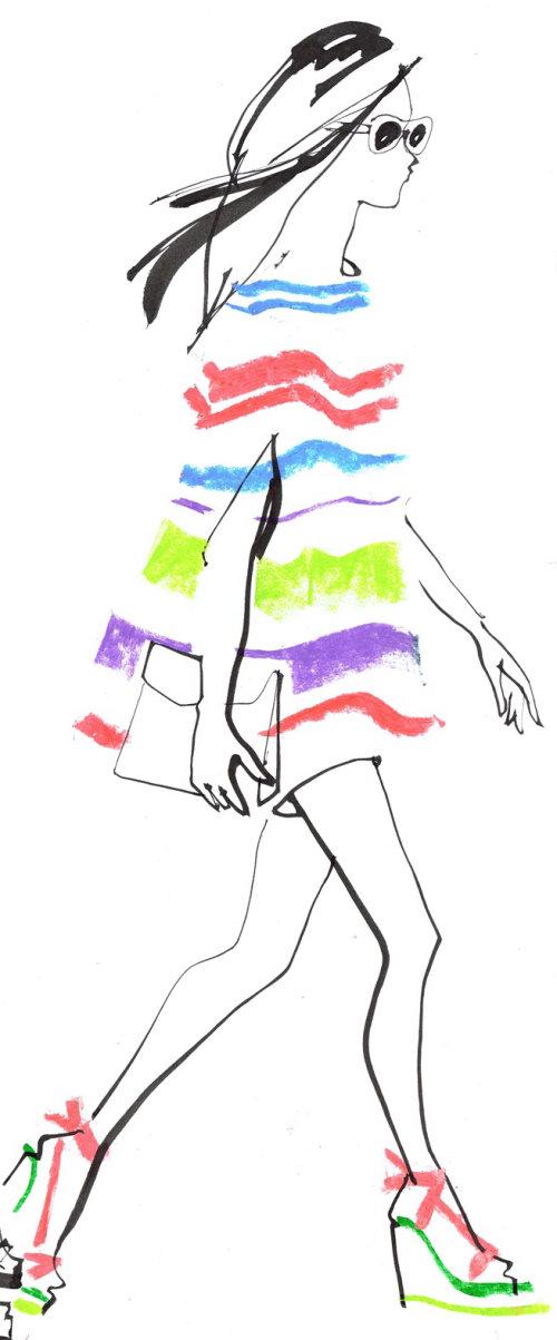 Illustration de mode d'une passerelle de fille