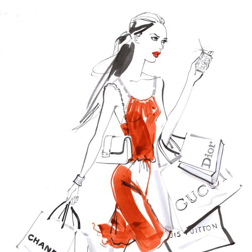 red dressed woman watercolor illustration