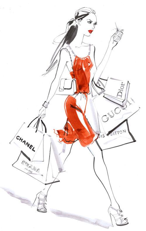 illustration aquarelle femme vêtue de rouge