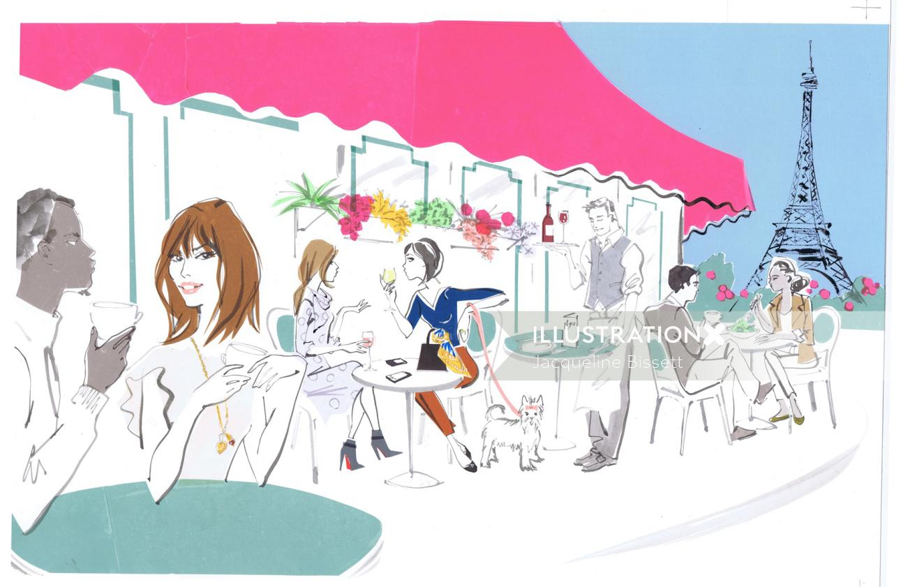 Party in a Town - Illustrtation by Jacqueline Bissett