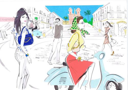 Illustration d'une dame sur scooter