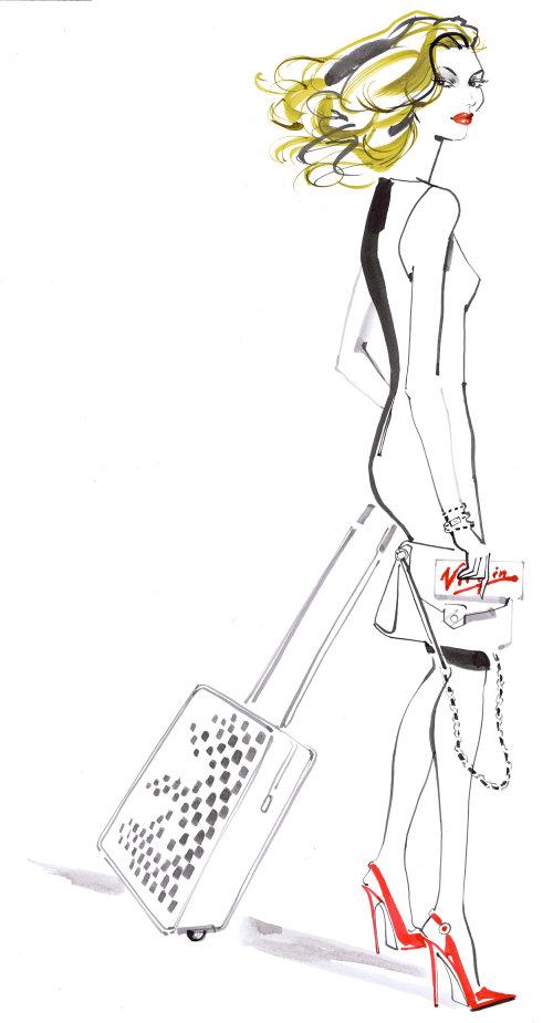 illustration de mode femme pour le magazine voyeur Virgin Airlines