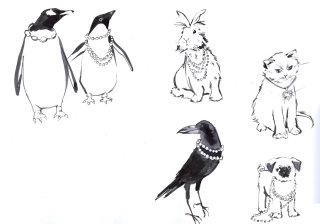 Black & white sketch of animals & birds