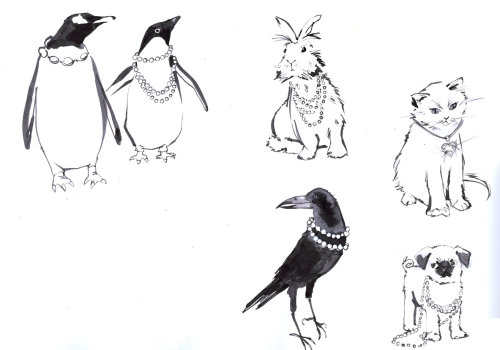Black & white sketch of animals & birds