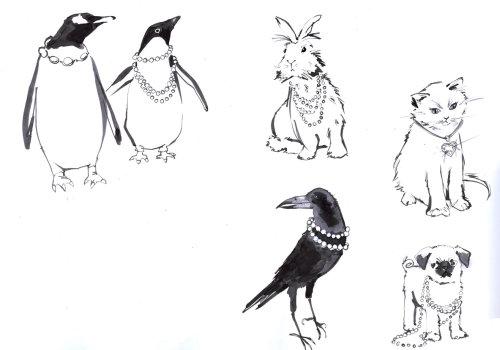 Croquis noir et blanc d'animaux et d'oiseaux
