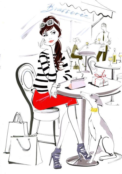 Illustration de la dame assise sur une chaise
