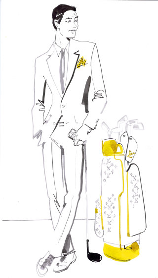 Stylish man line drawing for Voyeur magazine