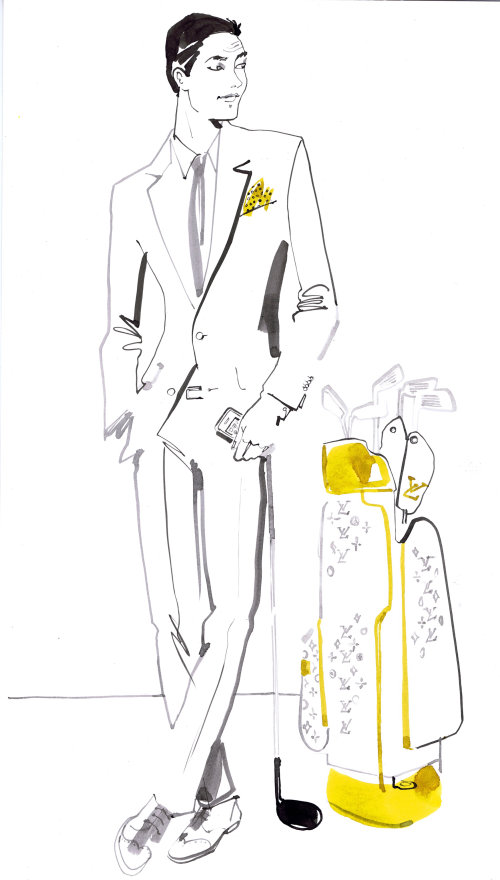 Stylish man line drawing for Voyeur magazine