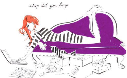 Lady lying on sofa and operating laptop, illustration for TS charm club diary by Jacqueline Bissett