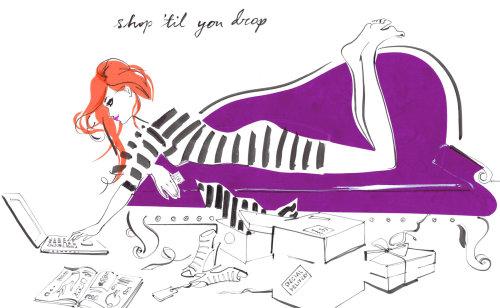 Dame allongée sur un canapé et un ordinateur portable, illustration pour le journal intime du TS Charm Club par Jacqueline Bissett