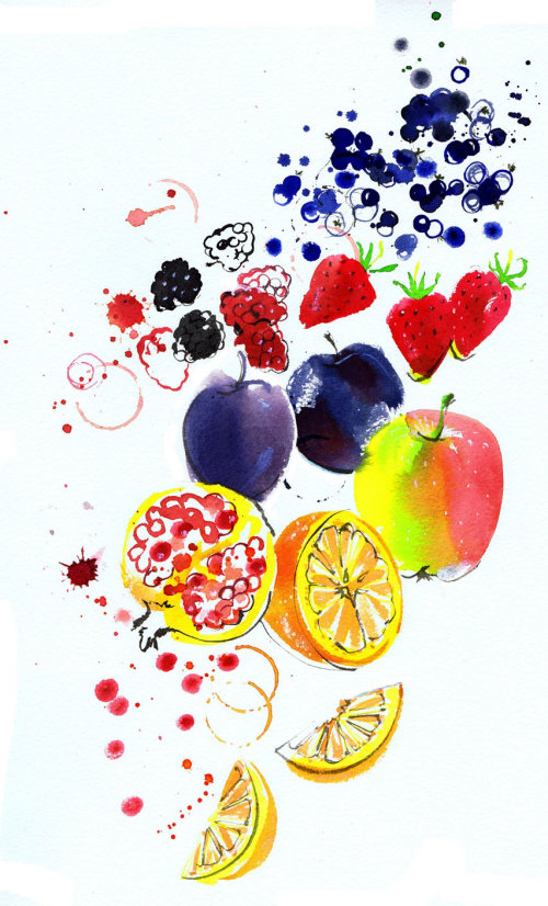 Fruits watercolour painting
