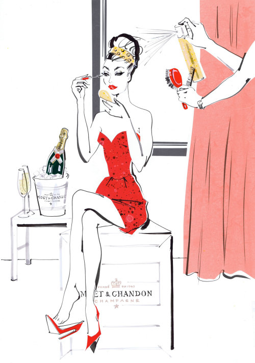 Lady makeuping, illustration for tatler party guide by Jacqueline Bissett