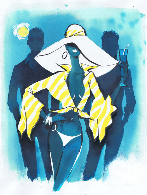 An illustration for Giorgio Beverley Hills magazine by Jacqueline Bissett