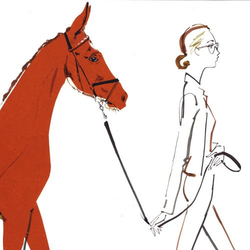 A stylish girl with horse