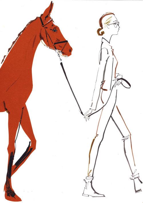 Une fille élégante avec cheval