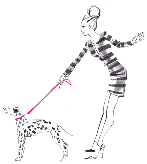 Lady holding dog illustration for Hallhuber charity scarf by Jacqueline Bissett