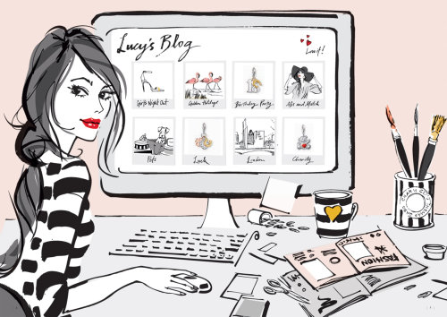 An illustration of woman shopping online