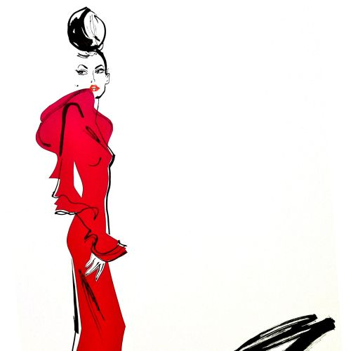 Lady in red, fashion illustration by  Jacqueline Bissett