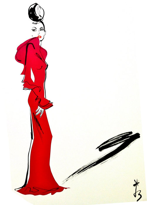 Dame en rouge, illustration de mode par Jacqueline Bissett