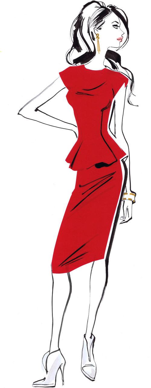fille en robe rouge