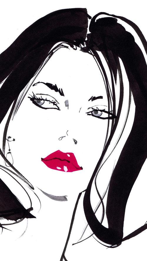Dame au rouge à lèvres, illustration pour Tie Rack par Jacqueline Bissett