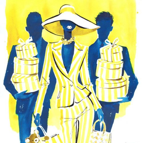 An illustration for Giorgio Beverly Hills advertisement by Jacqueline Bissett