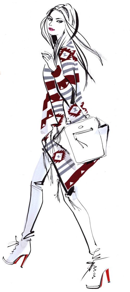 Une illustration de longues jambes à talons par Jacqueline Bissett