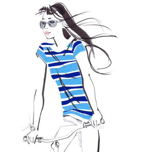 lady in blue stripes top on bicycle - An illustration by Jacqueline Bissett