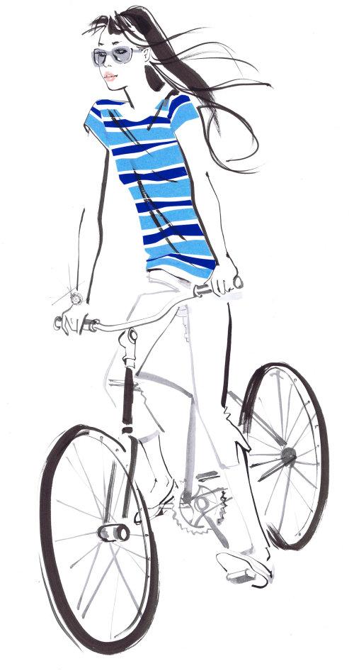 dame en haut à rayures bleues sur vélo - une illustration de Jacqueline Bissett
