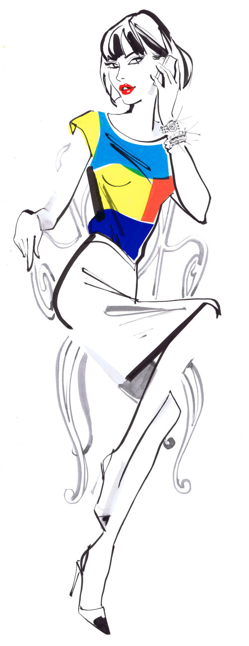 fashion lady sitting on chair - An illustration by Jacqueline Bissett