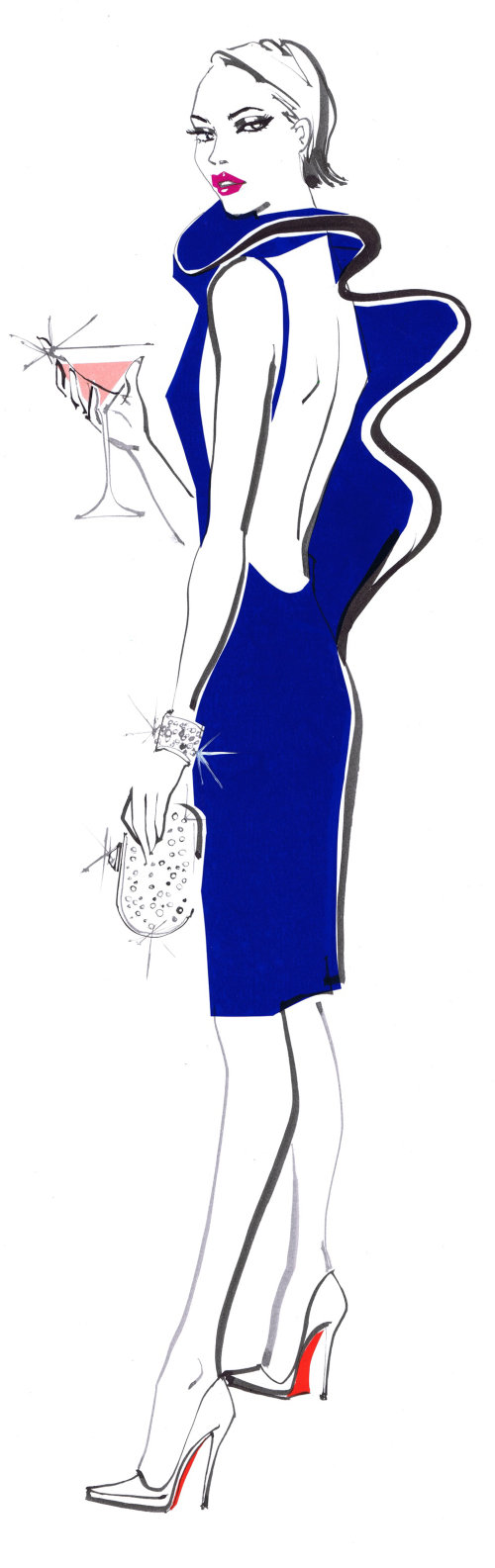 Fashion model Lady holding a glass - An illustration by Jacqueline Bissett