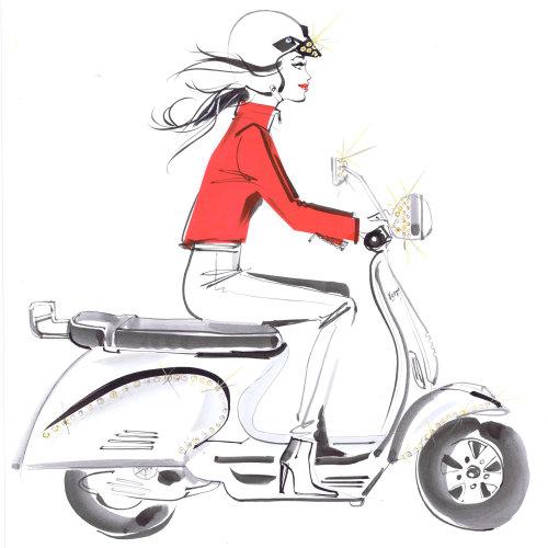 Remise de l'illustration de mode dessin femme par Jacqueline Bissett