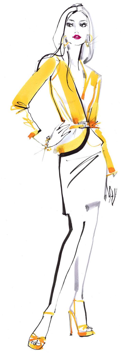 Dame de la mode en illustration jaune pour le catalogue Swarovski par Jacqueline Bissett