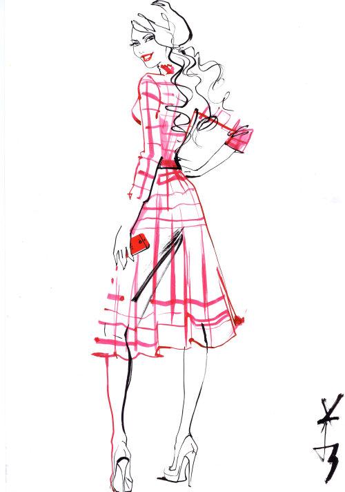 Fille Fashion en robe rose - Croquis impressionnant