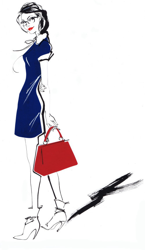 Live event drawing of beautiful lady with handbag