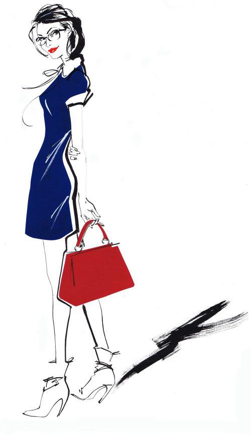 Dessin d'événement en direct de belle dame avec sac à main