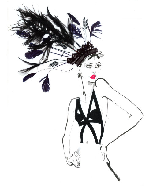 Illustration for fashion show- David Simon contemporary