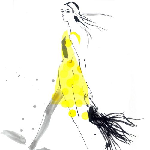 Illustration of lady in yellow wear