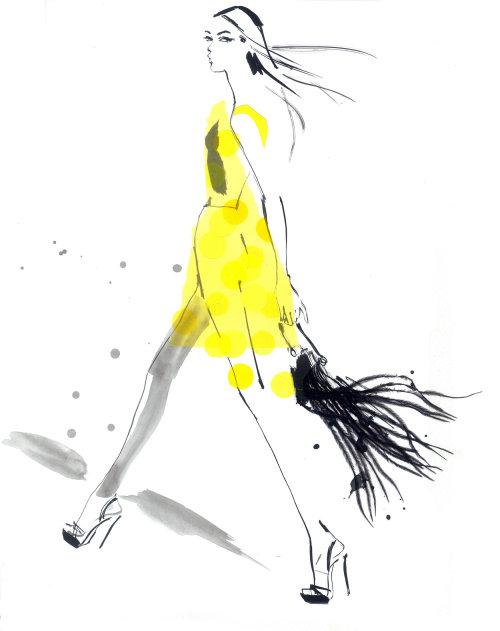Illustration de la dame en vêtements jaunes