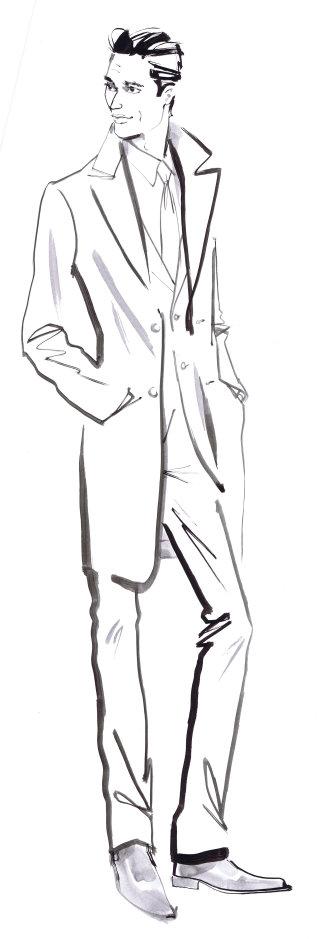 Man in formal illustration by Jacqueline Bissett