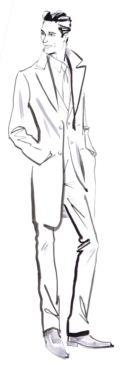 Homme en illustration formelle par Jacqueline Bissett