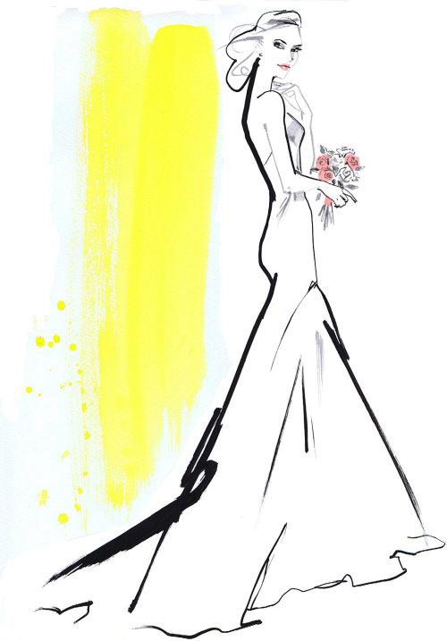 Belle mariée avec des fleurs dessin au trait