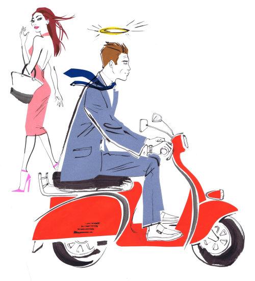 Superbe dame regardant un homme sur scooter - aquarelle